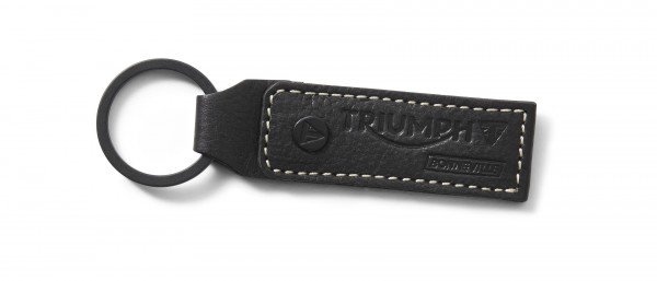 Triumph leren sleutelhanger, - black