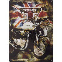 Triumph Union Jack metal sign